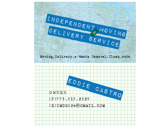 Business cards independent moving delivery service that girl the overall retro look of the map dymo label font the typewriter font and graph paper give a nod to the diy ethic of this business owner reheart Gallery